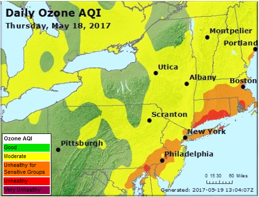 Northeast US AQI Map, May 18, 2017